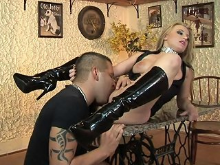 BravoTube Porno - Slutty Blonde In High Boots Gets Fucked Hard On A Table