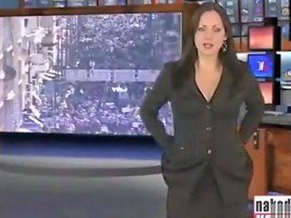 VoyeurHit Porno - Brunette Beauty Strips Nude During A News Broadcast