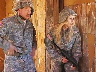 BravoTube Porno - Blonde Babe In Military Uniform Gets Fucked Hardcore By Her Colleague