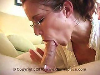 BravoTube Porno - Glassed Brunette Milf Gives Blowjob And Swallows  In An  Vid